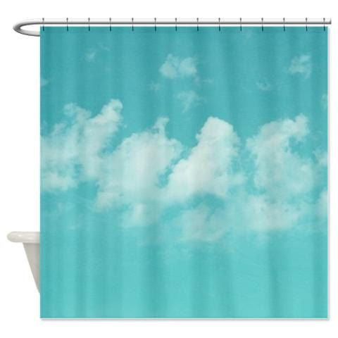 Shower Curtain Art Shower Curtain Aqua Blue Sky Shower Cutrain