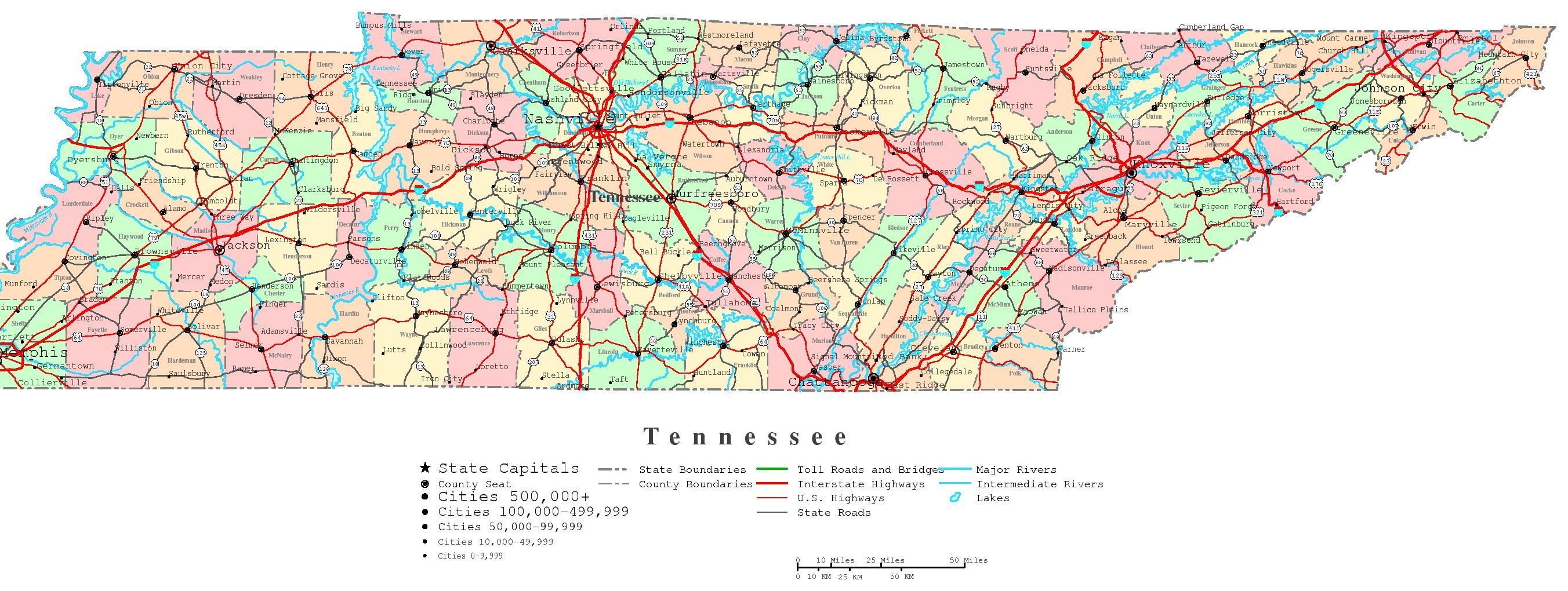 Tennessee Road Atlas Tennessee Printable Map Traveling