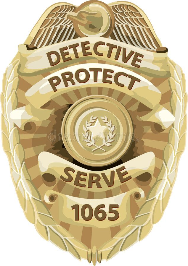 Detective Badge with clipping path. A shiny gold detective
