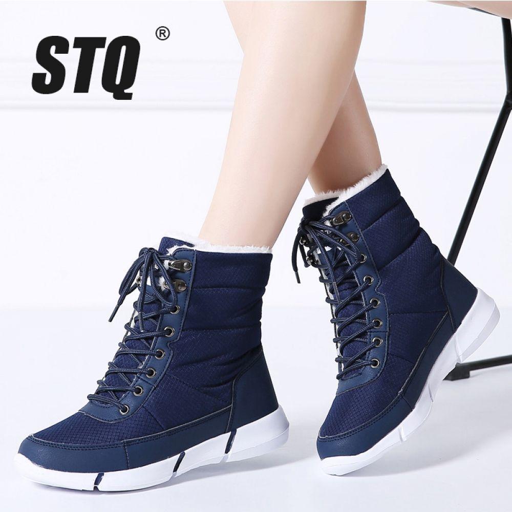 cc52848a5ce STQ Winter Women Snow Boots Platform ankle boots women warm fur flat  waterproof rain boots for