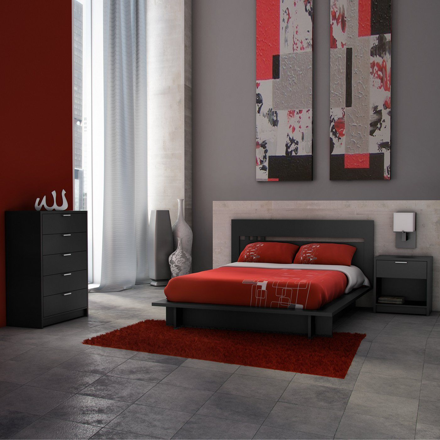 A black bedroom set with red decor. Inspired by European modernism ...