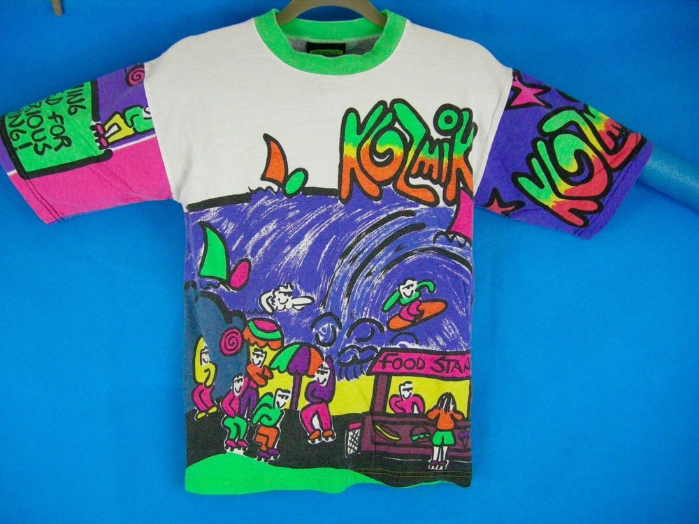 f848fdb8 VTG 80S KOZMIK DESIGNS S/S NEON POP ART SHIRT FRESH PRINCE Graphic New  Zealand #KOZMIK #GraphicTee #Party