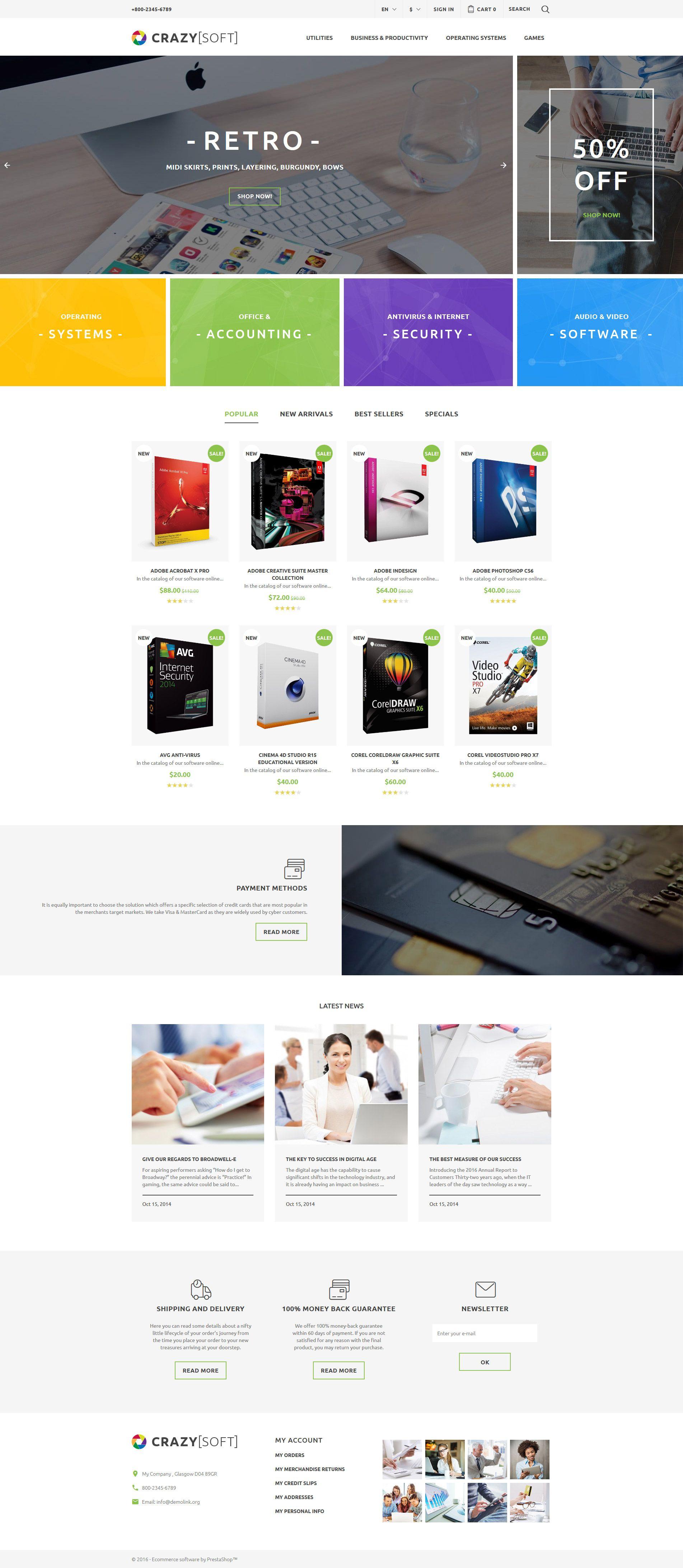 Crazy Soft PrestaShop Theme | Pinterest | Software, Website designs ...