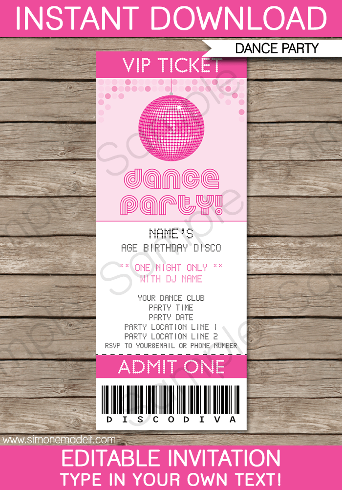 Dance Party Ticket Invitations Disco Ball Birthday Editable Diy Theme Template Instant 7 50 Via Simonemadeit