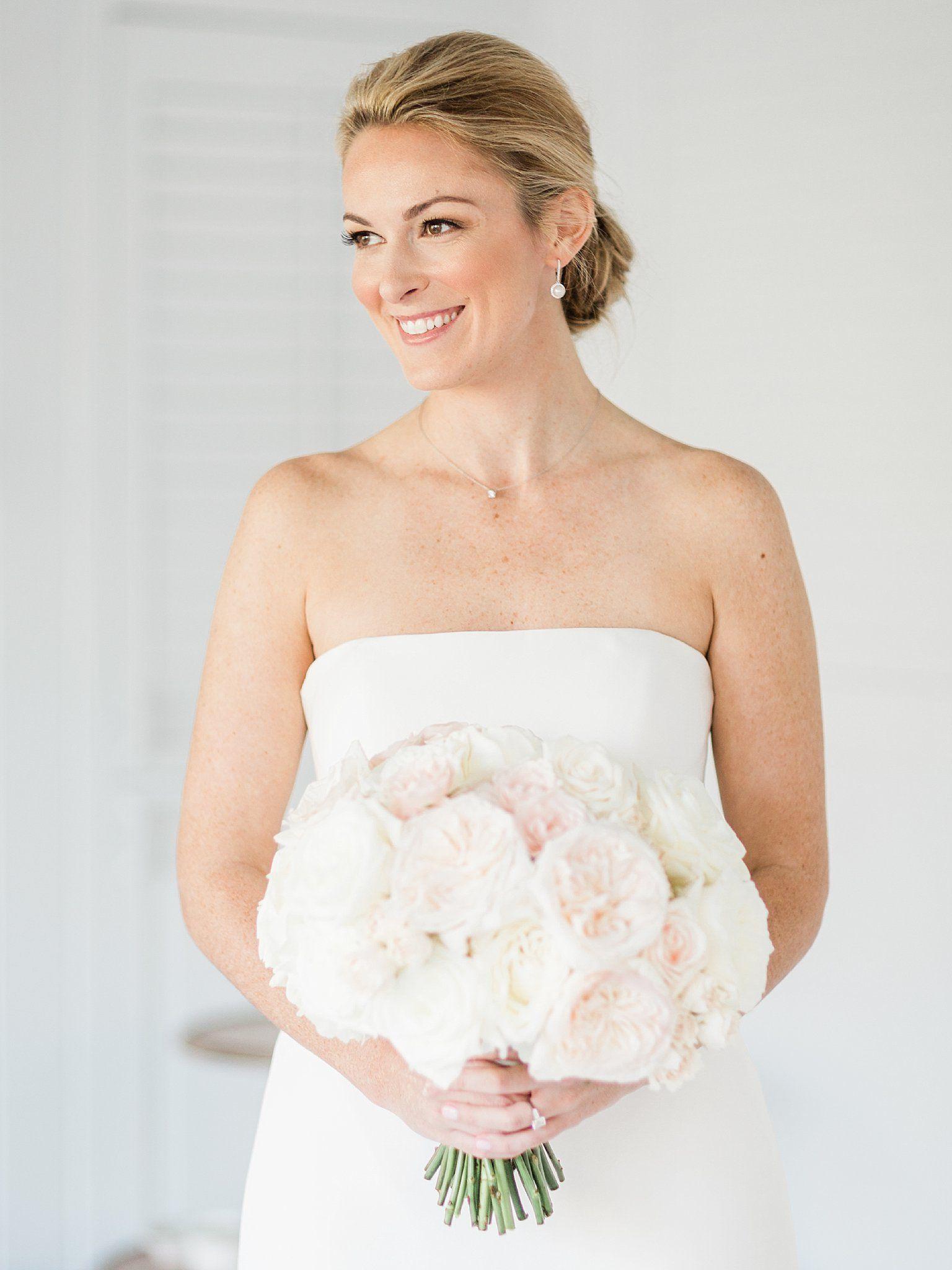 elegant bridal portrait with blush garden rose bouquet. hair