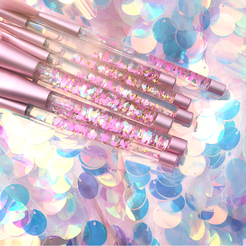 Unicorn Liquid Sequins and Crystals Makeup Brushes Pink