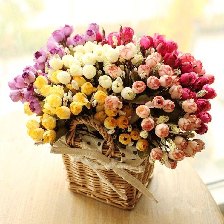 Colorido de Seda de Flores Flores artificiales 15 cabezas Mini Rose