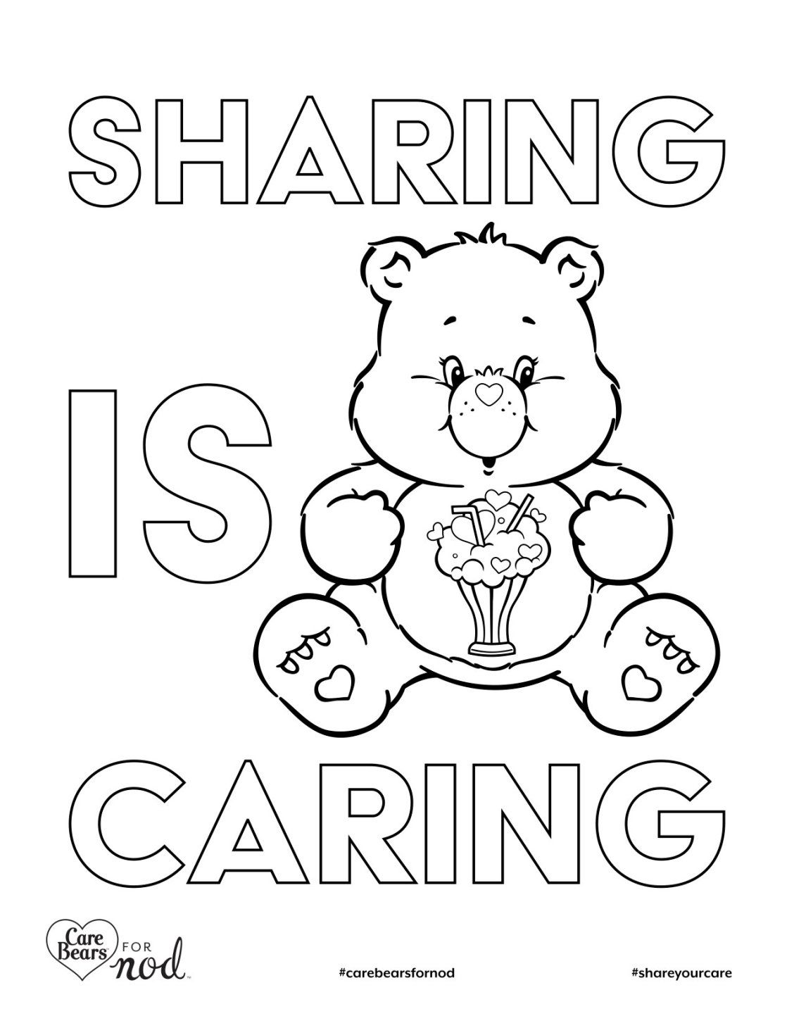Share Your Care Day Printable Care Bears Coloring Pages