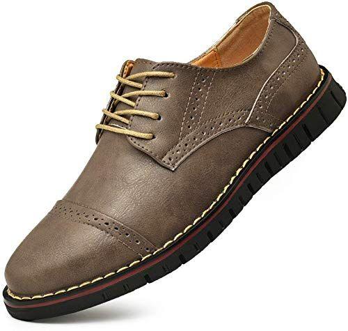 VOSTEY Mens Dress Shoes Leather Brogue Wingtip Oxford Shoes