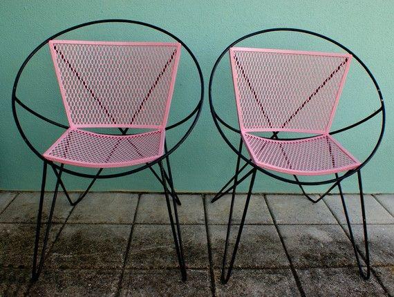 Vintage mid century atomic pink and black salterini hoop patio chair ...