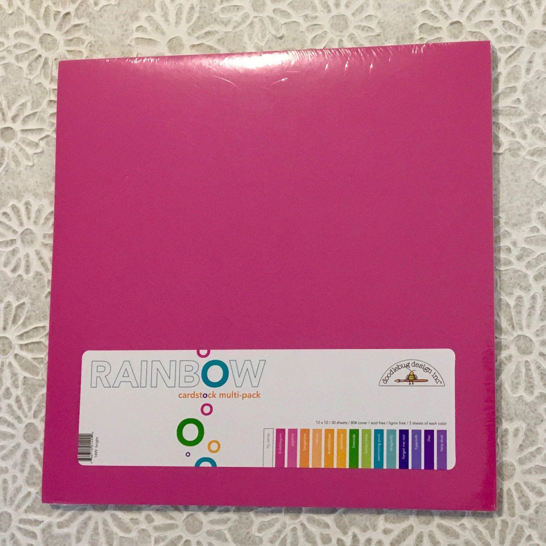 Multi colored cardstock paper - Doodlebug 12 X12 Rainbow Cardstock Multi Pack Bright 30 Pkg