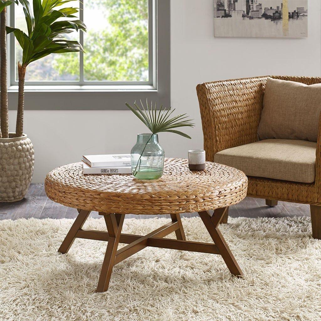 Seadrift Natural Woven Round Coffee Table Coffee Table Rattan Coffee Table Ottoman Coffee Table [ 1024 x 1024 Pixel ]