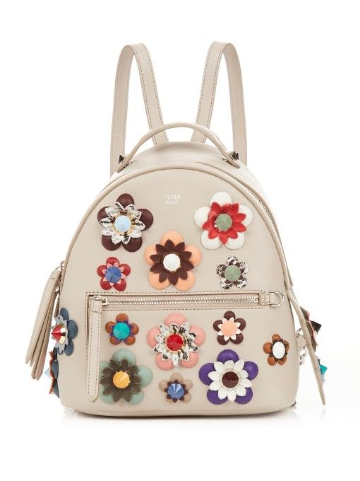 FENDI By The Way Mini Flower-Appliqué Backpack.  fendi  bags  leather   lining  backpacks   d9b8bd33bc252