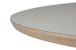 Grote ronde tafel met blad van hpl en rvs frame interieur