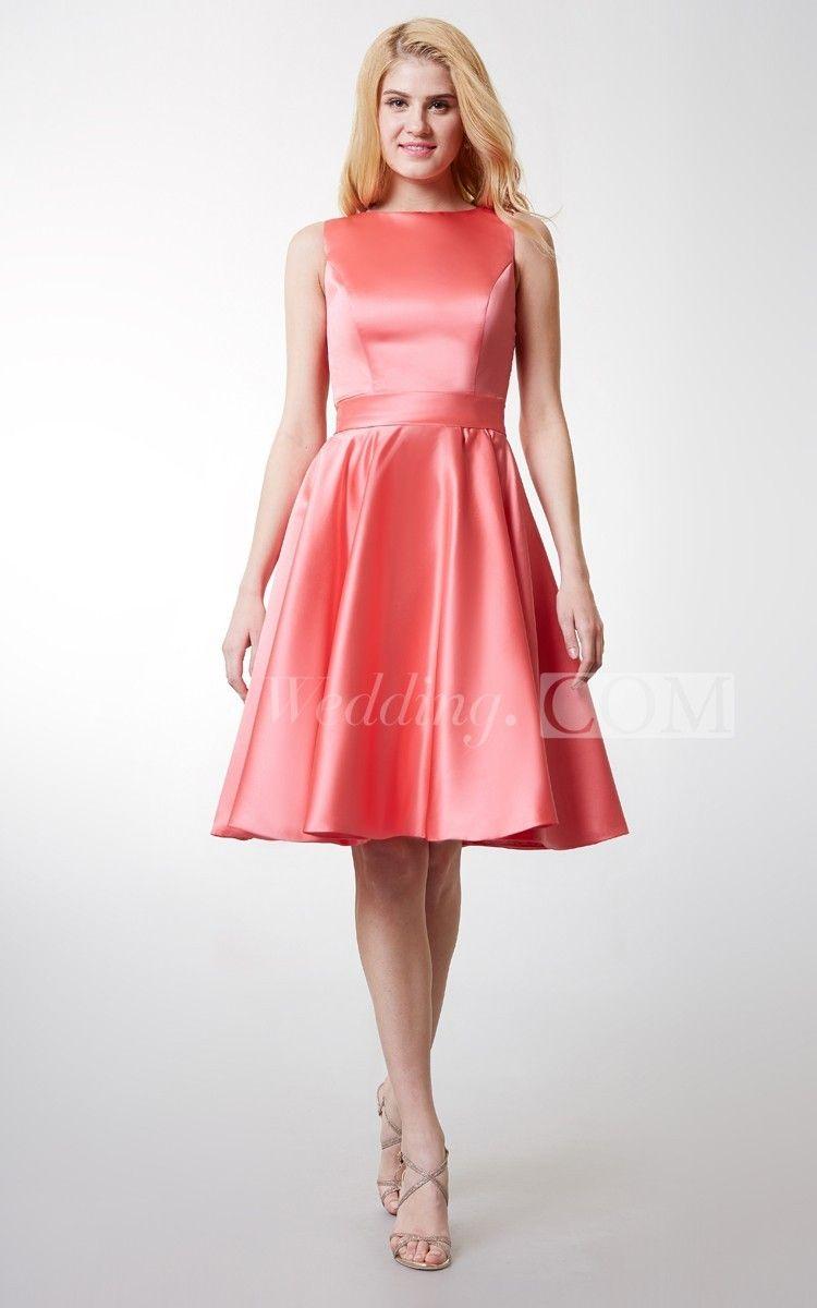 Elegant Bateau Neck Pleated Short Satin Dress With Lace Keyhole Back ...