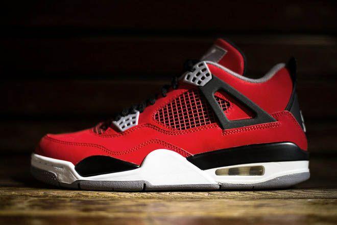 "Mens Air Jordan Retro 4 ""Toro Bravo"" Fire Red/White with Black Cement Nubuck Suede Basketball Shoes"