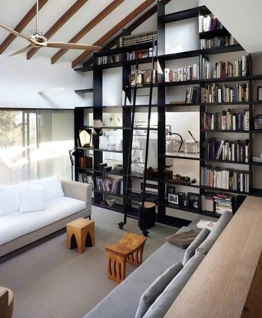 Home Library Design Ideas You Must See: One Wall Library If You Have Vaulted Ceilings. Great Idea