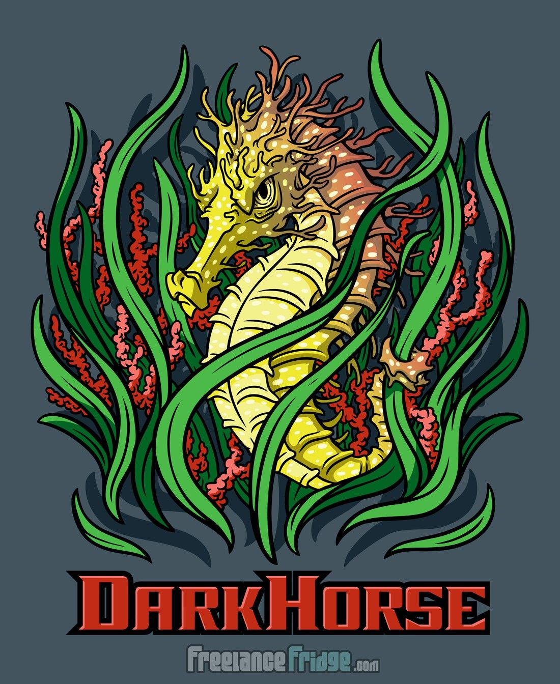 Design t shirt artwork - Dark Horse Tough Mean Cool Seahorse T Shirt Vector Artwork Design