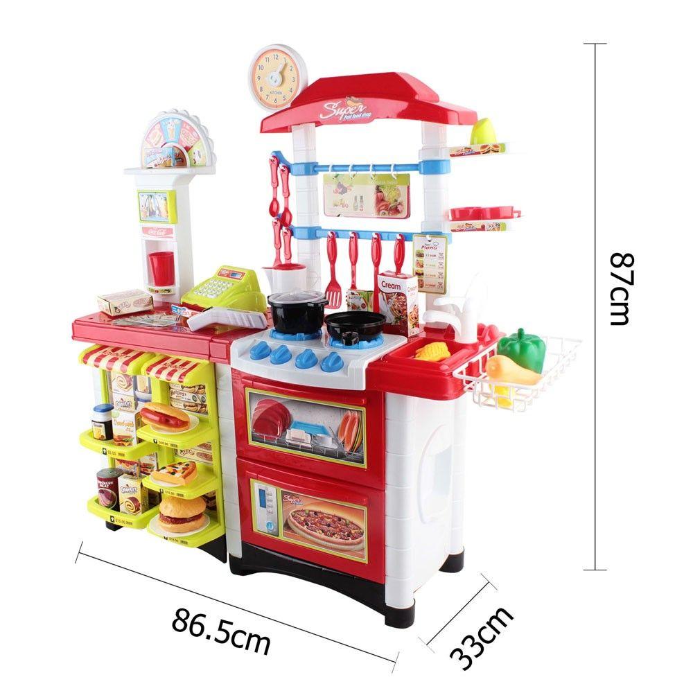 Kids Zone Toys Kitchen Supermarket Pretend Play Set Red White