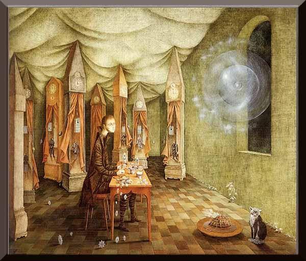 Remedios Varo= Revelation or the Clockmaker, 1955.  Oil on Masonite, 27-7/8 x 33 in.
