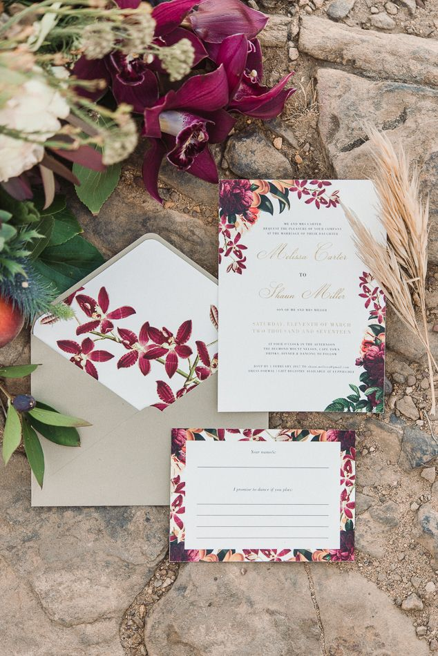 romantic floral wedding invitations - photo by Dehan Engelbrecht ...
