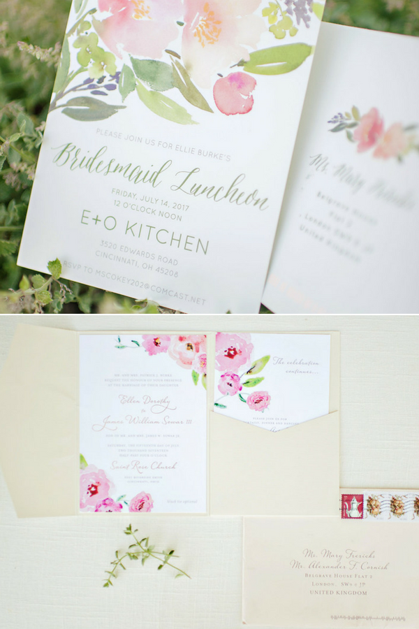 Floral watercolor stationery suite with pink roses and pocket format for  outdoor tented wedding reception at 90d190883b4