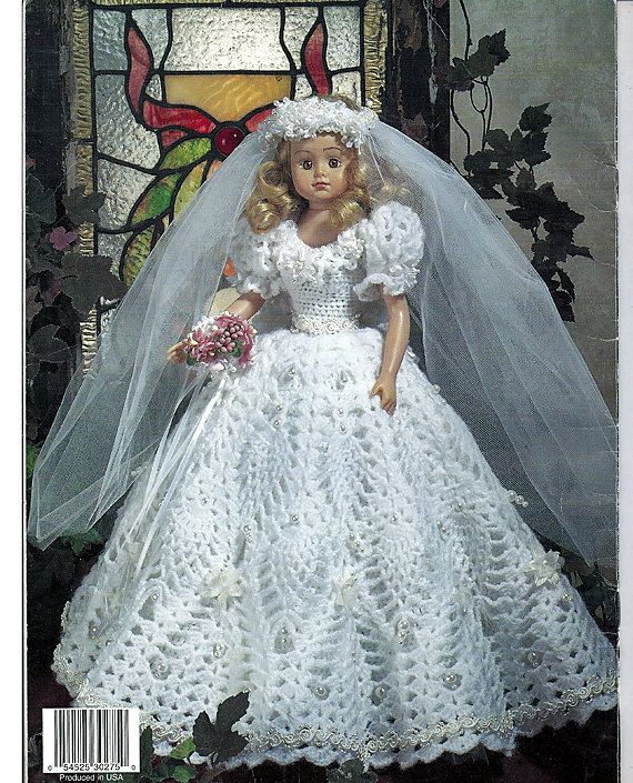 Pineapple wedding dolls crochet pattern for 11 1 2 and 15 for Crochet wedding dress pattern