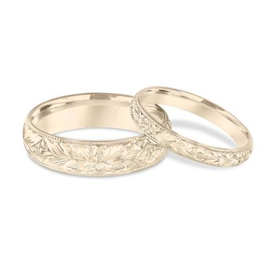 His Hers Wedding Bands Hand Engraved Yellow Gold Matching Rings
