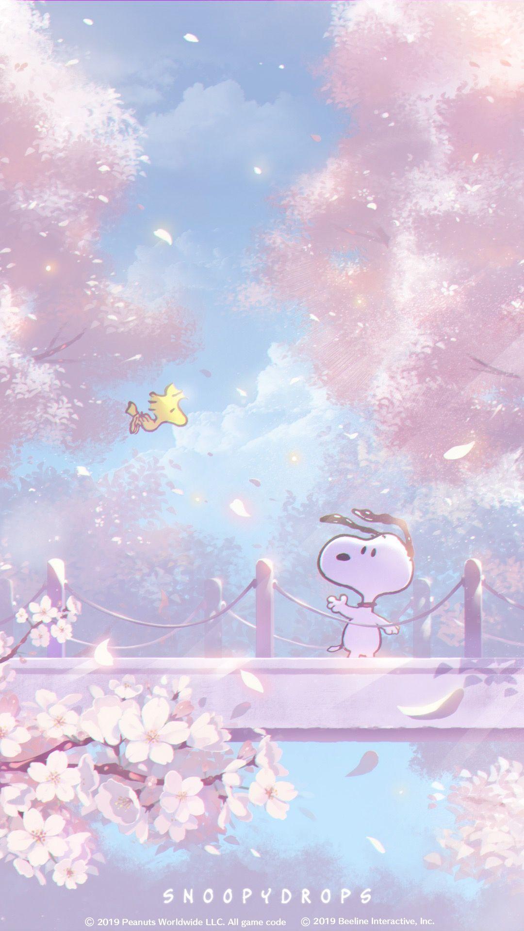 Snoopy スヌーピー 桜の思い出 桜 壁紙 スヌーピーの壁紙