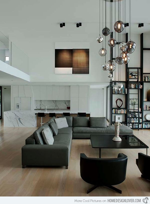 15 interiors with high ceilings ceilings grey living for Modern living room high ceiling