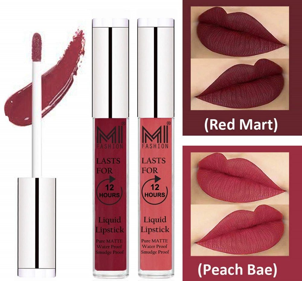 Combo of 2 red mart matte liquid lip gloss lipstick with