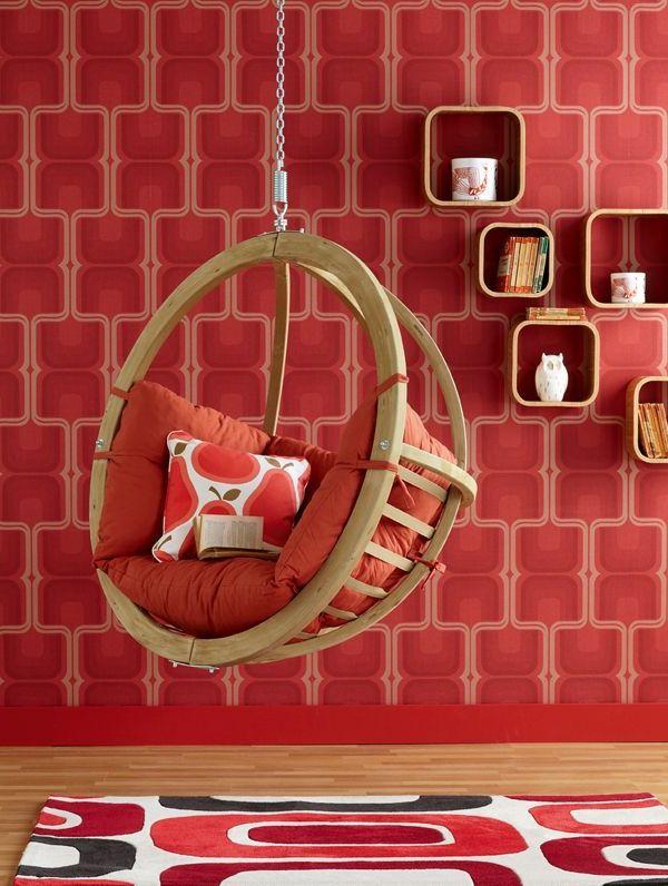 tapeten-farben-ideen-coole-rote-wand-im-zimmer Wand Deko Pinterest - tapeten und farben