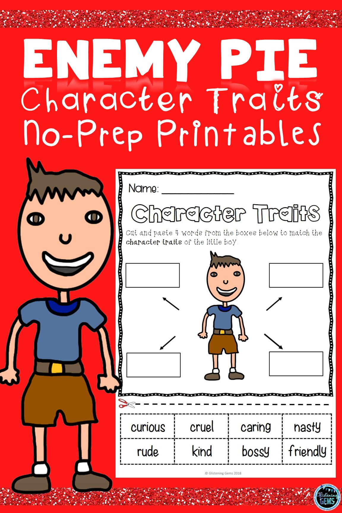 Enemy Pie Activities Character Traits Character Traits Activities Character Trait Kindergarten Themes [ 1728 x 1152 Pixel ]