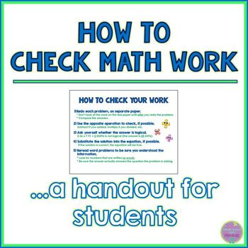 FREE 4-6 help students check their math work, or understanding what ...