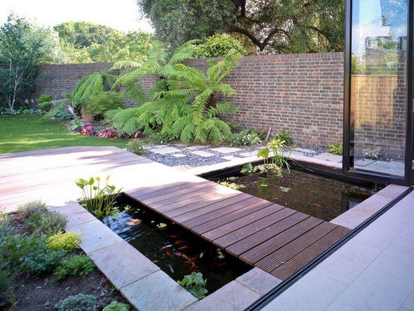 backyard-pond-modern-bridge   Pont de jardin, Jardin moderne et ...