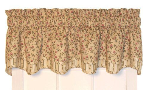 Marcia Floral Print Layered Bradford Valance Curtain 70 Inch By 15
