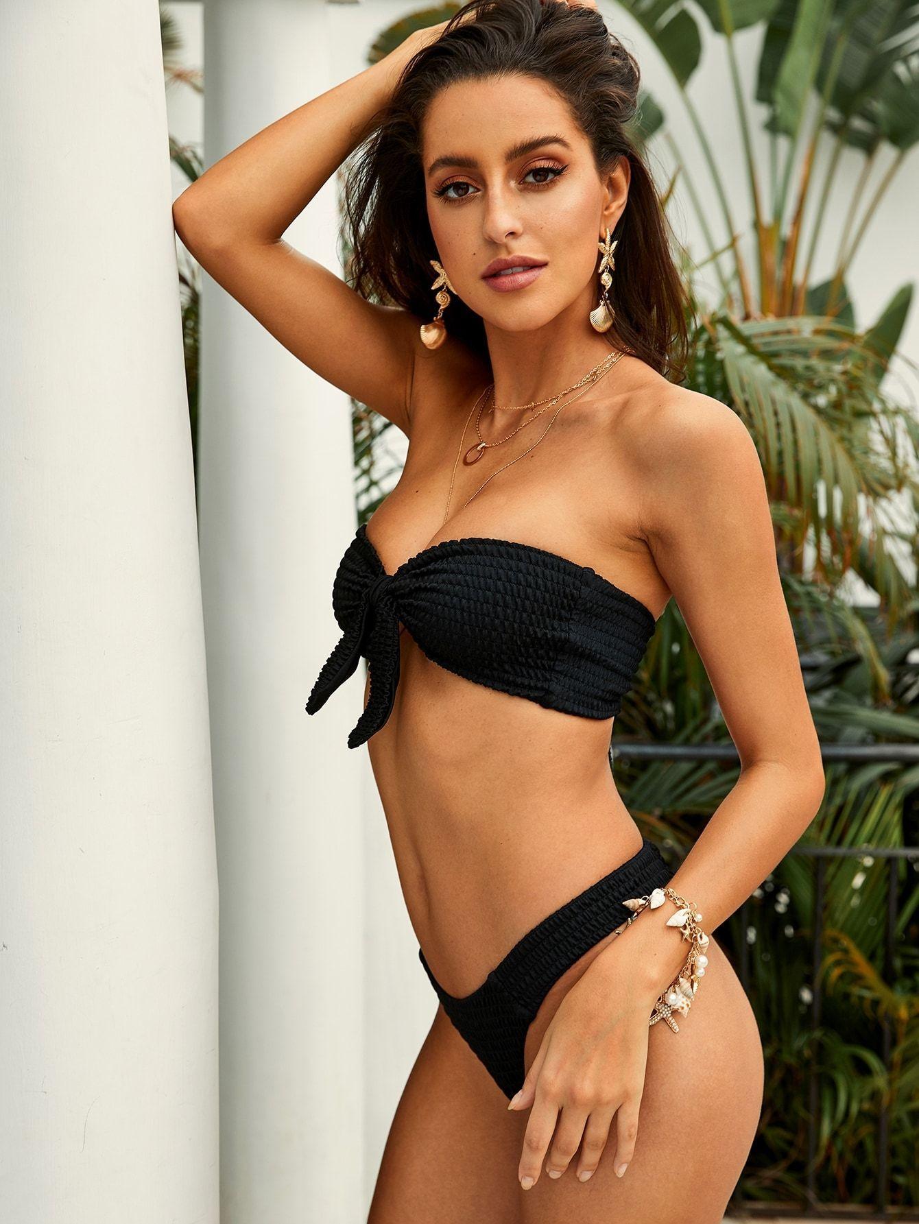0e73b4d961 Smocked Knot Front Bandeau With High Cut Bikini - Popviva #swimwear  #sportswear #monokini #beachwear #lingerie #swimsuit #bathing #undergarment  #tankini ...