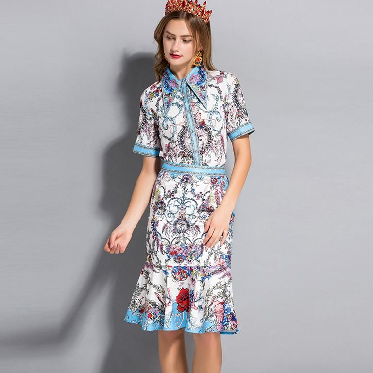 New Arrival 2018 Women S Turn Down Collar Short Sleeves Printed