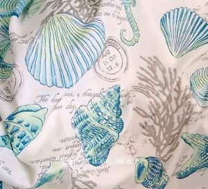shower curtain large blue seashell | ... SEASHELLS-AQUA-TROPICAL-BEACH-HOUSE-BLUE-TEAL-STARFISH-SHOWER-CURTAIN