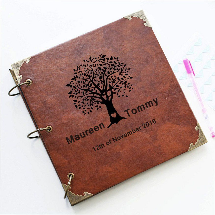 Custom wedding tree leather guest book personalized