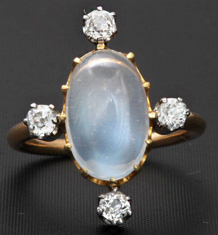 Heavenly French Moonstone and Diamond Ring - Four diamonds, four elements! Perfect for a witch :)