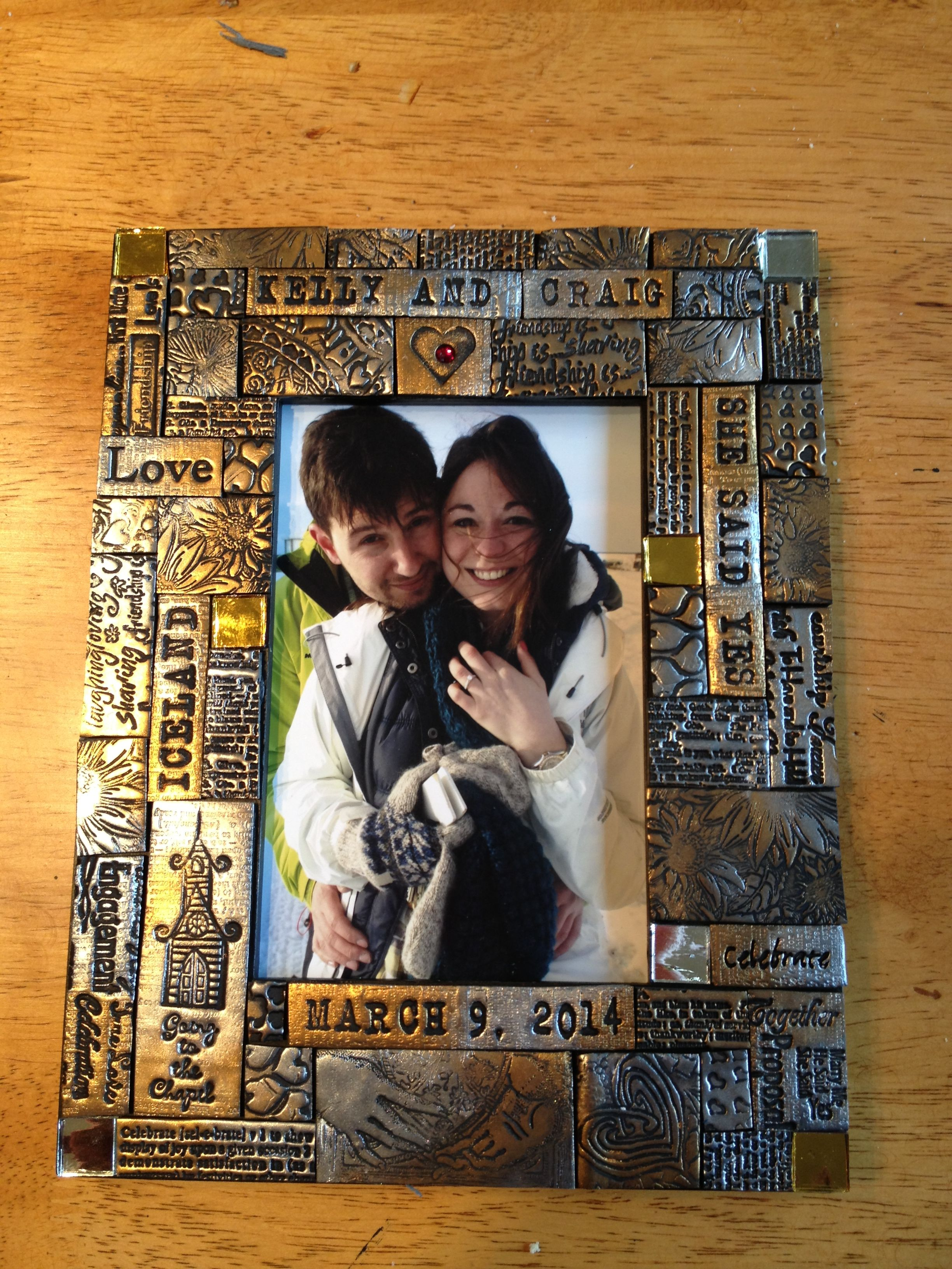 Personalized Polymer Clay Framewere Engaged Laurie West