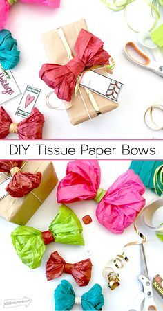 Make your own tissue paper bows - they're quick and easy and cost a fraction of store bought bows!