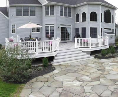 Gray Timbertech Deck With A Hardscape Patio Combo
