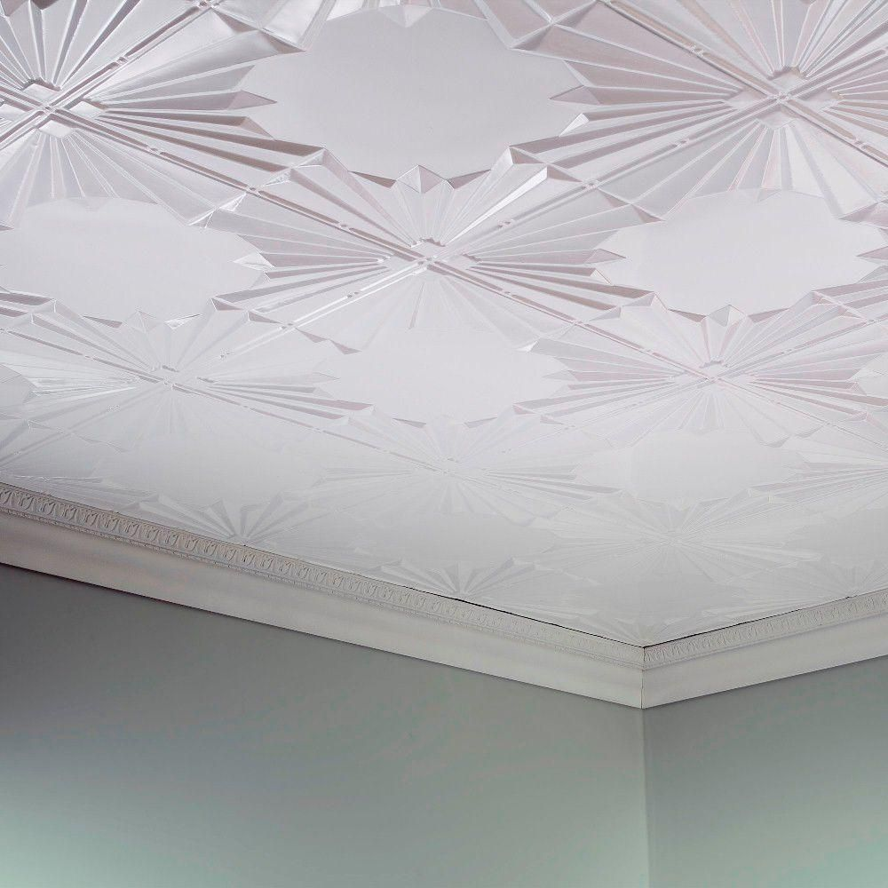 Fasade Art Deco 2 Ft X 4 Ft Glue Up Pvc Ceiling Tile In Matte White G55 01 Pvc Ceiling Tiles Ceiling Tile Tin Ceiling