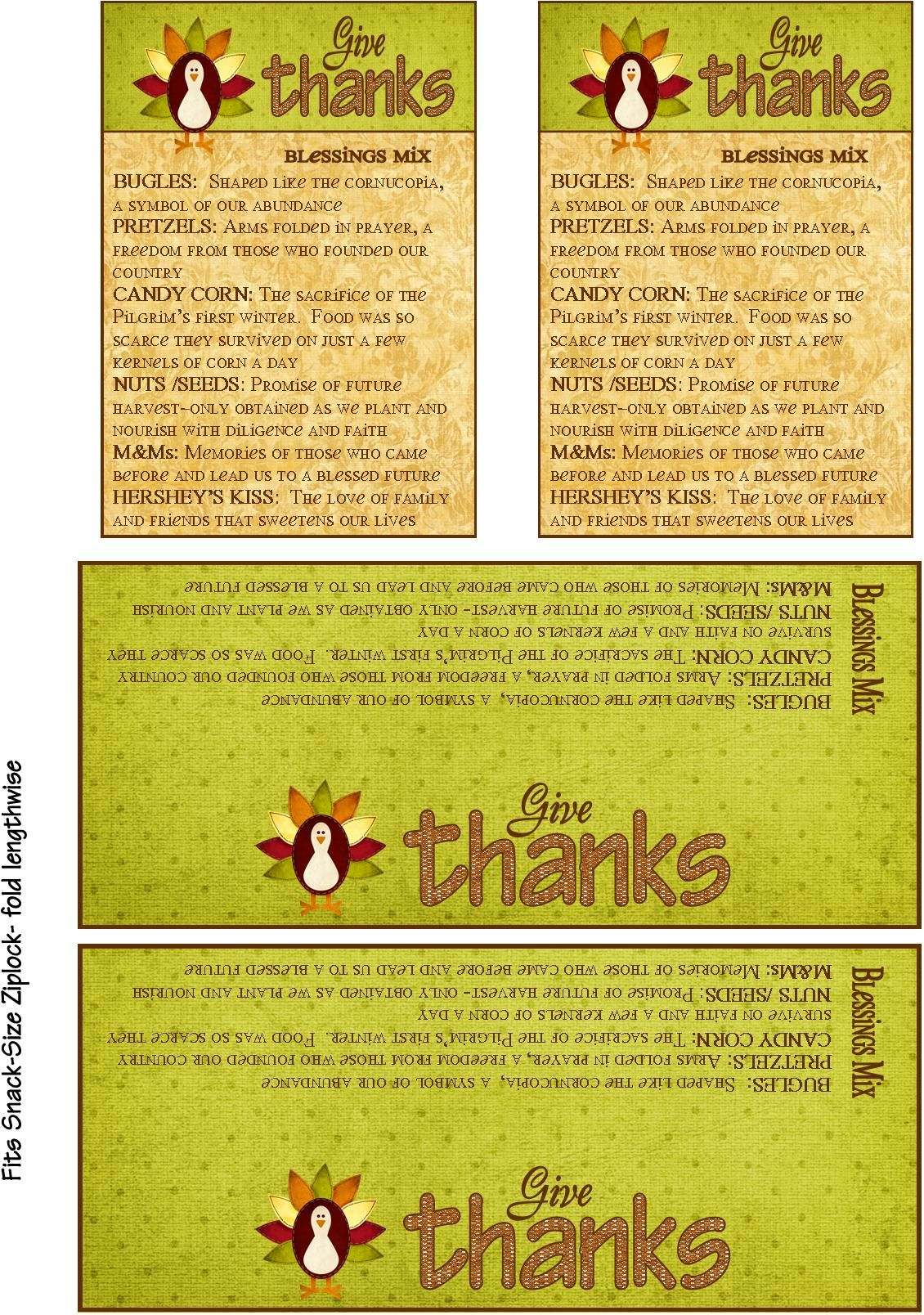 Thanksgiving Blessings Mix And Printable T Tag