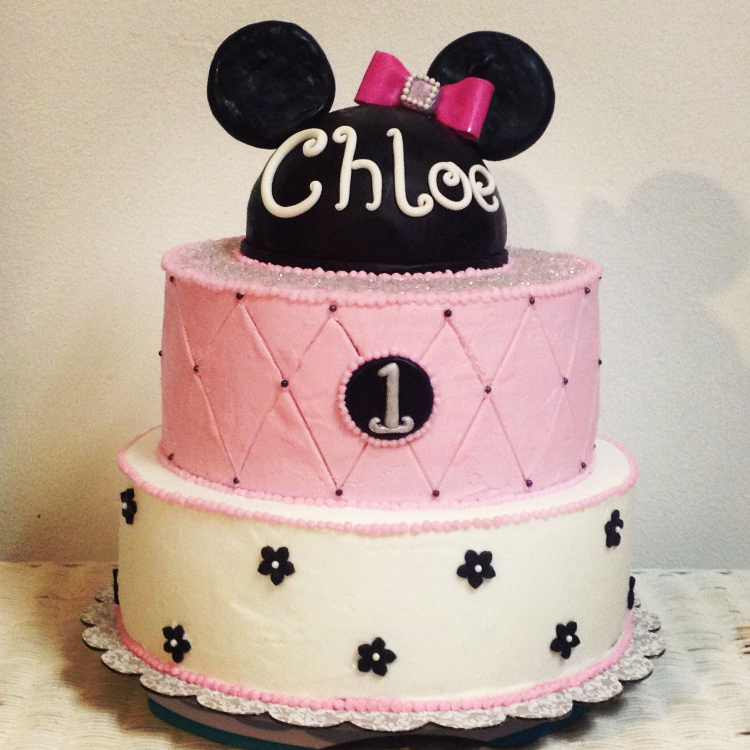 Minnie Themed Birthday Cake For A 1 Year Old Little Girl Sweet Art