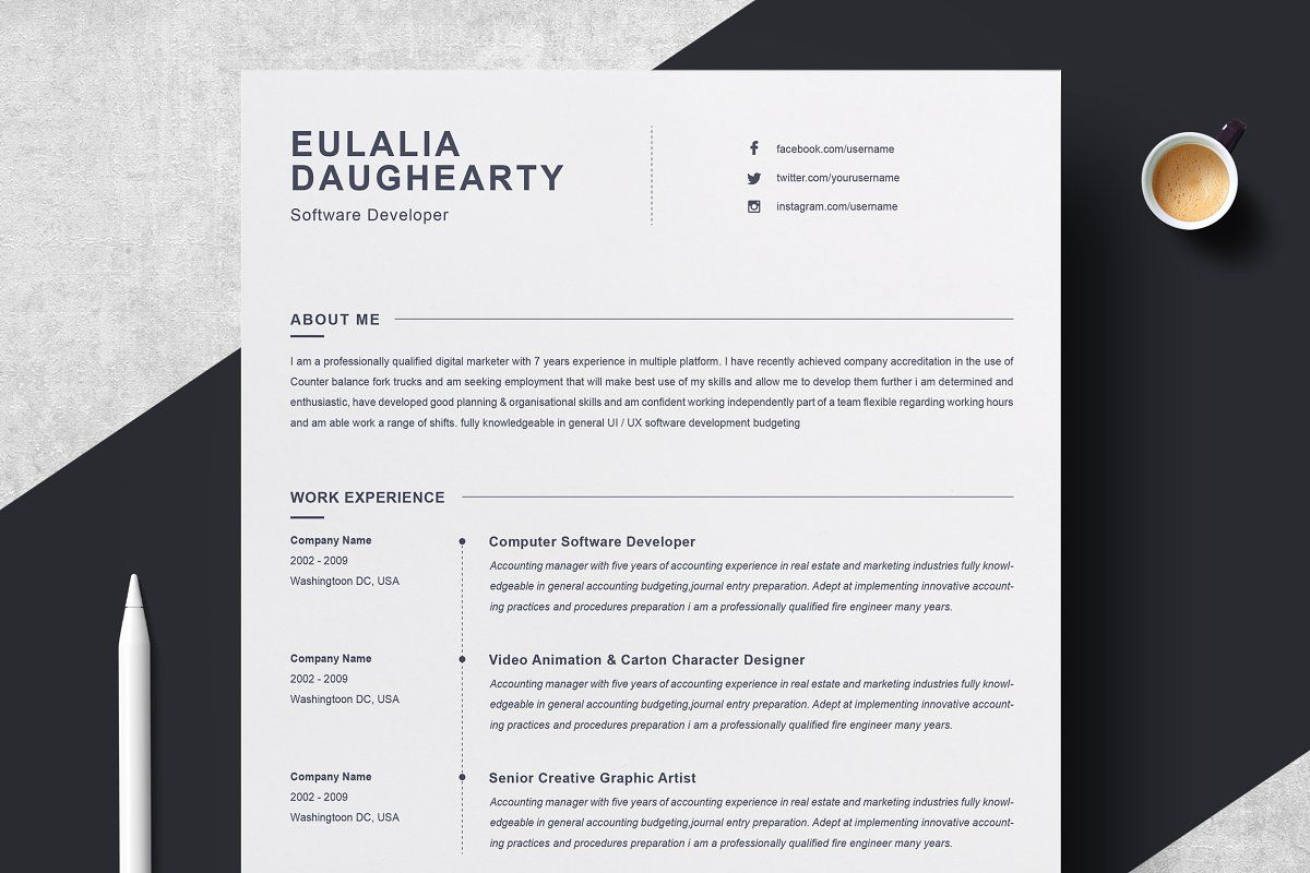 2 pages clean resume template clean resume template
