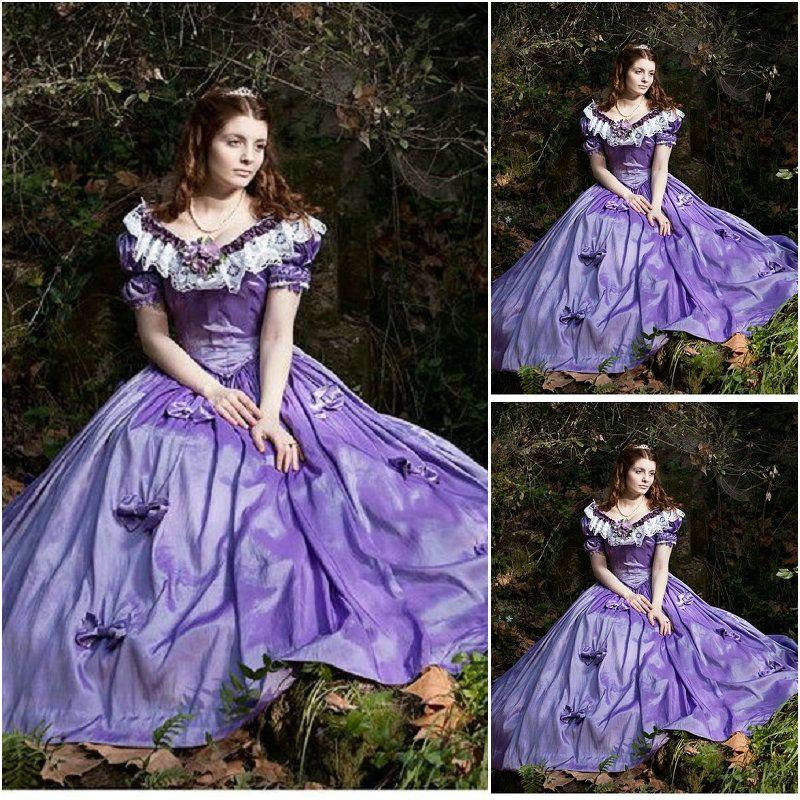 Historical!19 Century White Chiffon Vintage Costumes 1860S Victorian Civil  War Gown Dress Scarlett dresses US 4-36 C-148 940f4474debf