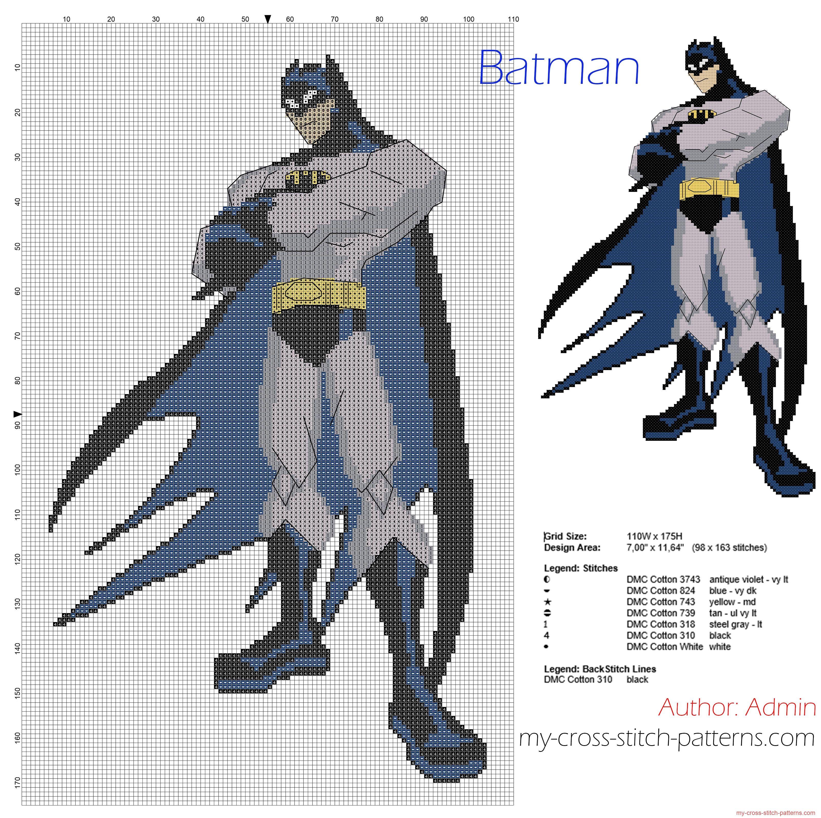 Batman free cross stitch pattern download - 3200x3190 - 4081913 ...